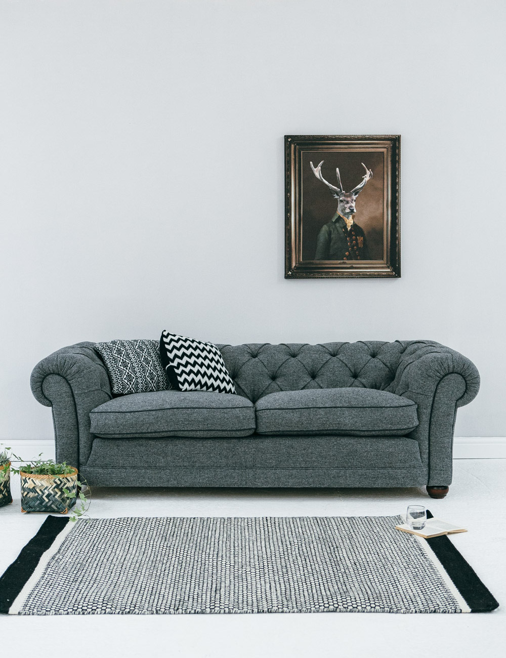 Abbey slate tweed chesterfield at rose and grey for Grey tweed couch