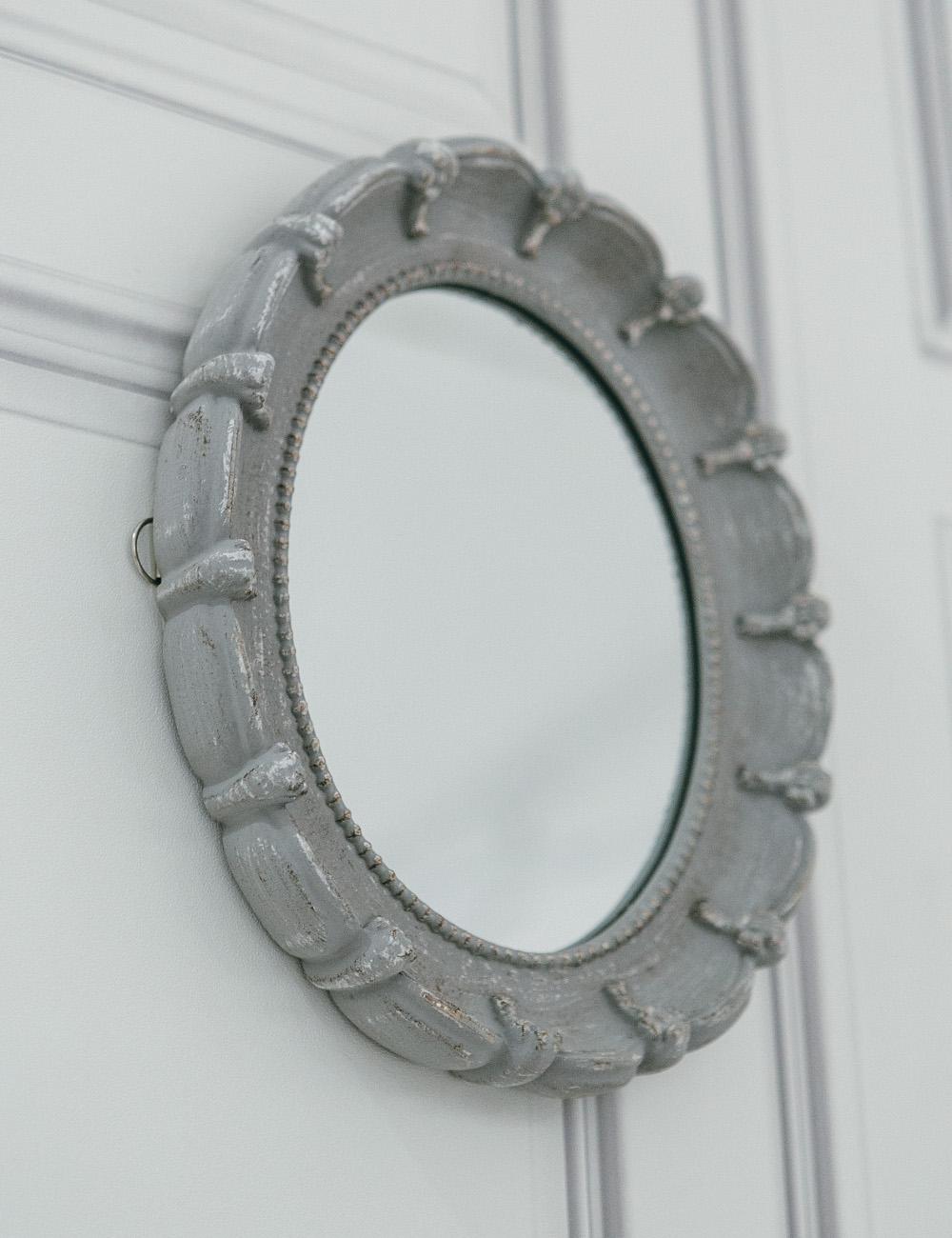 Oval Antique Mirror  Small Grey