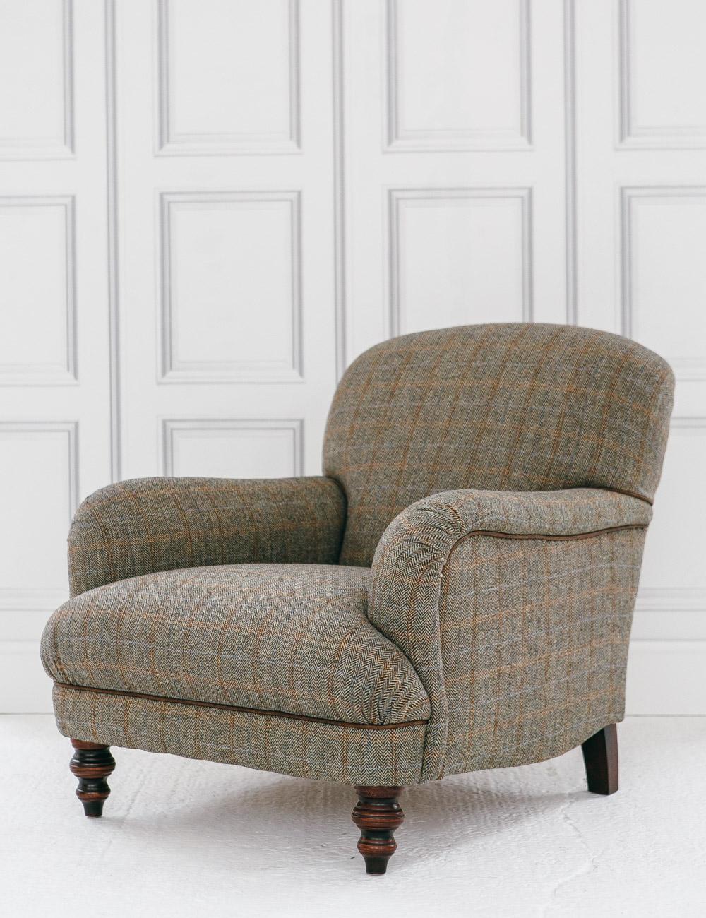 Manor Harris Tweed Sofa In Granite