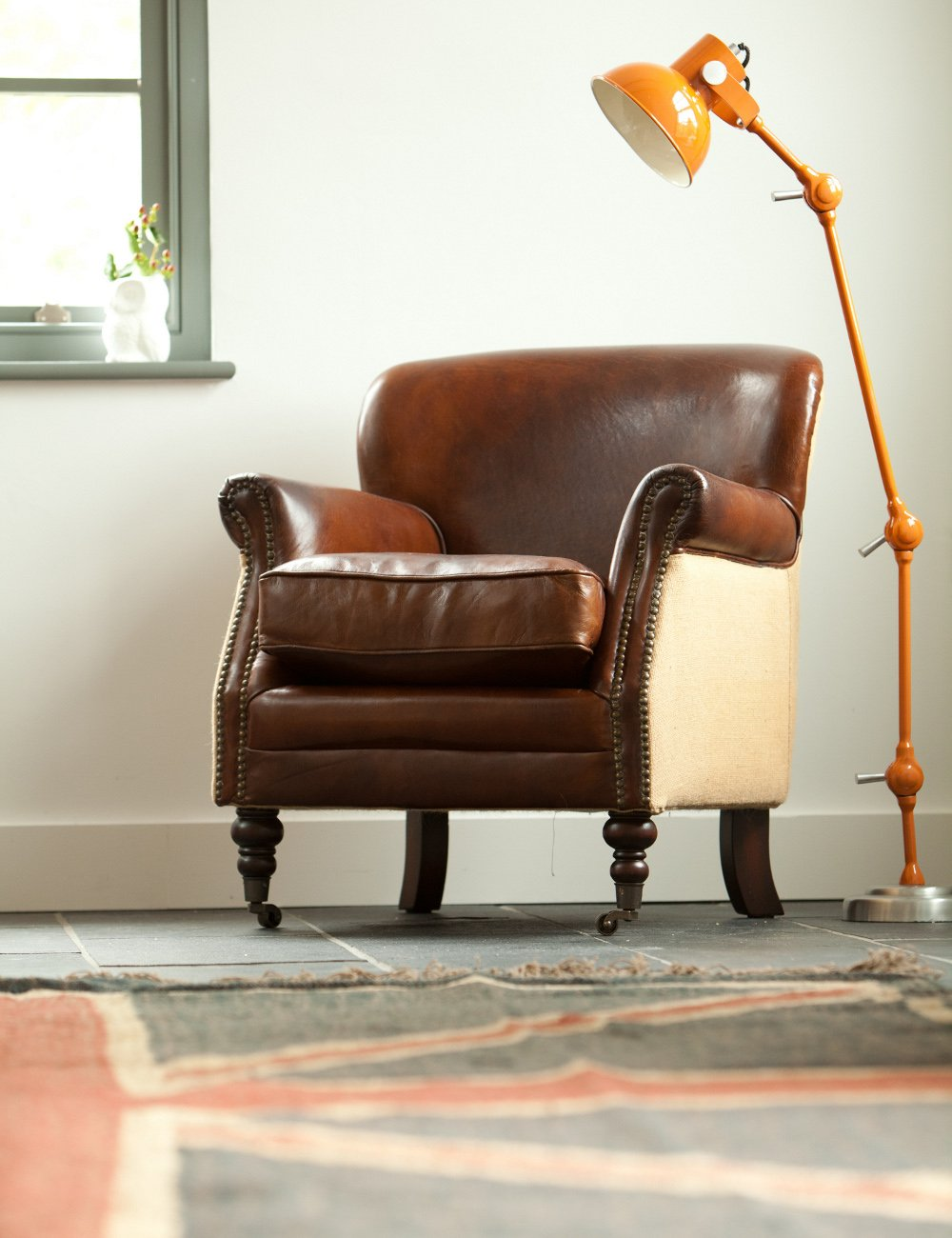 Vintage Leather and Linen Armchair at Rose & Grey, Vintage ...