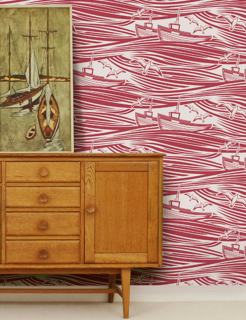 Whitby Wallpaper in Awning Red