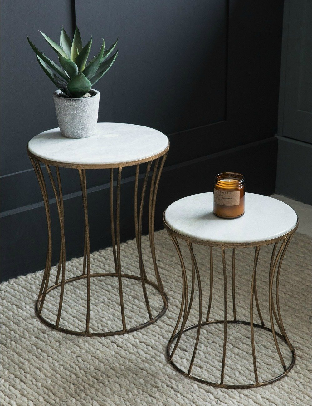 White Marble Drum Side Table At Rose Grey