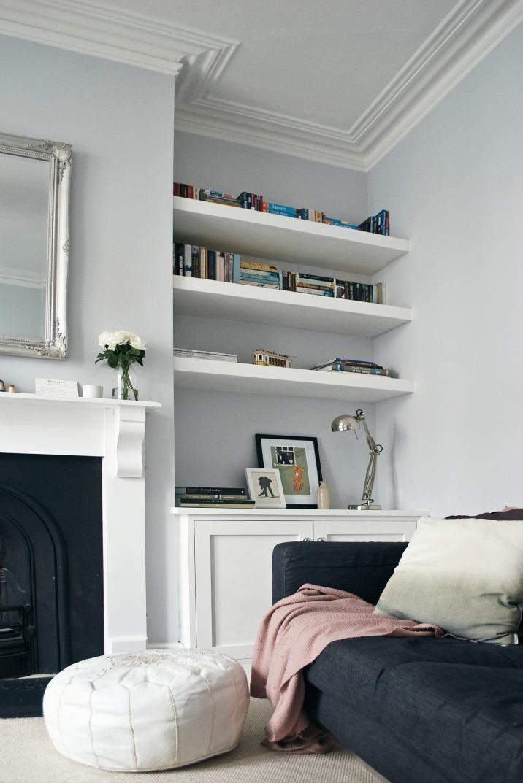 living room interior design shelving