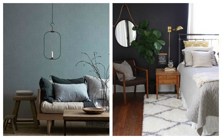 How to style dark walls in your home rose and grey for Dark blue walls in living room