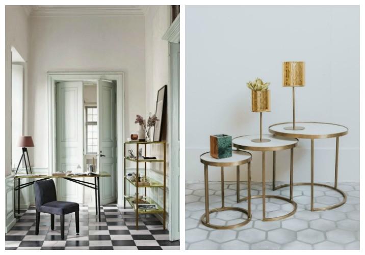 brass trend interior design and furniture