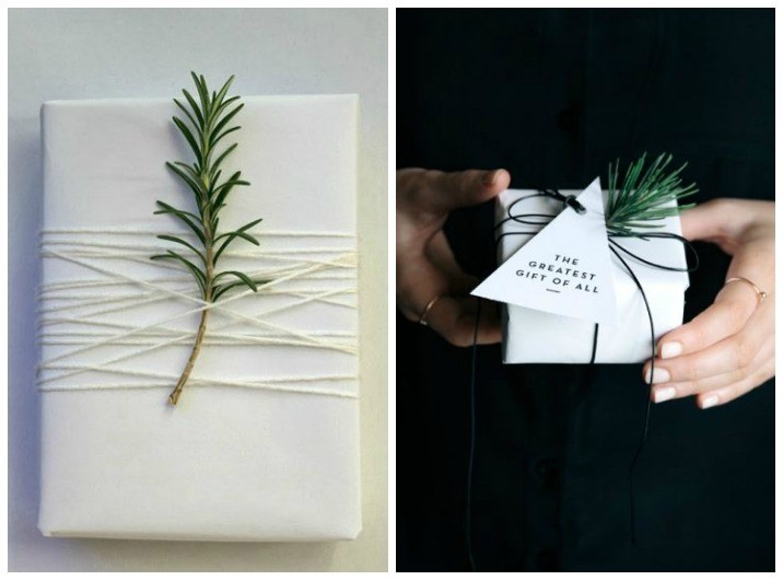 gift wrapping using foliage
