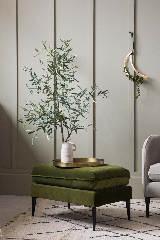 Broughton Green Velvet Ottoman