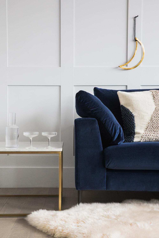 Epsom Navy Velvet Sofa