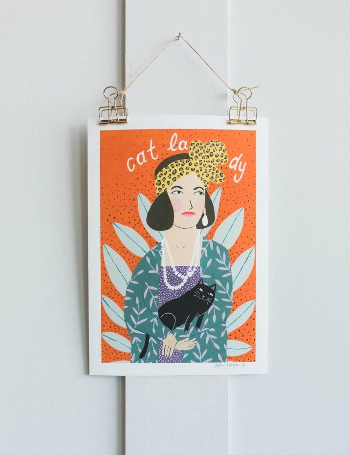 Fotini Tikkou Cat Lady A4 Print