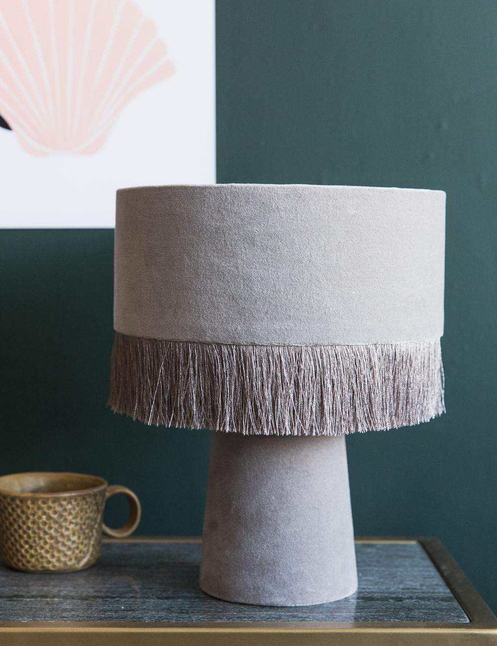 Grey Fringed Lamp