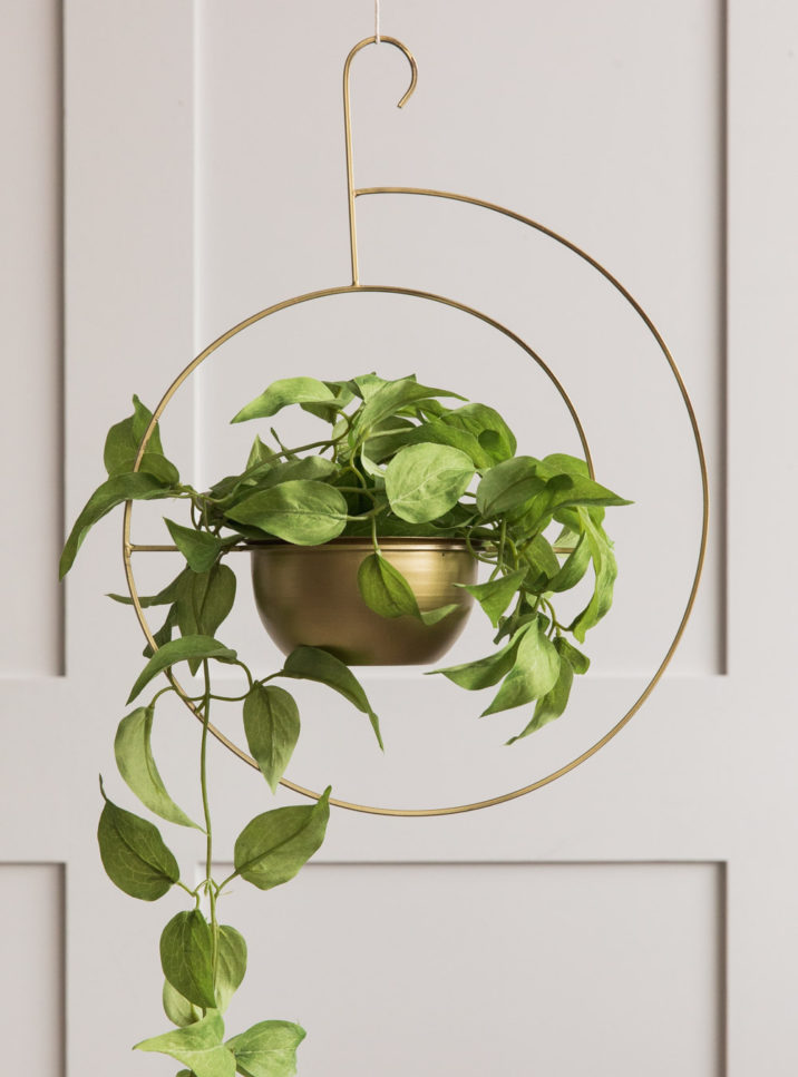 Brass Hanging Spiral Planter