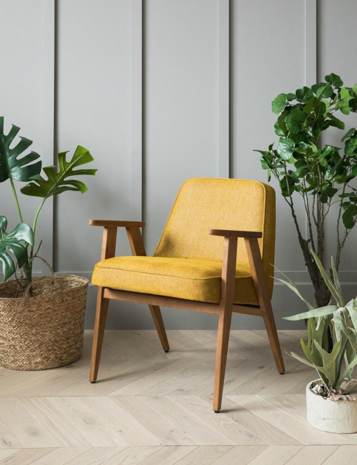 Mustard Mid-Century Wooden-Framed Chair