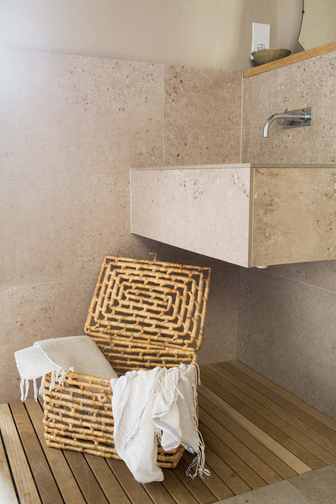 Textured Laundry Basket in Bathroom