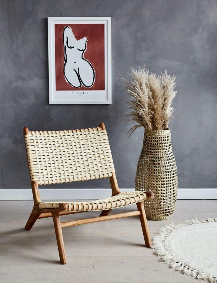 Teak & Rattan Lounge Chair | Rose & Grey